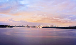 Sydney Harbour and City at Dawn Royalty Free Stock Image