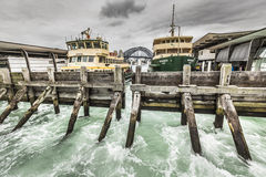 Sydney Harbour City Ferry in Circular Quay with Sydney Harbour Stock Photography