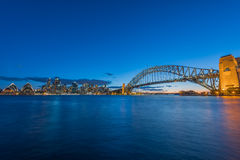 Sydney Harbour and City Sydney Australia. View of Sydney Harbour and Sydney City Sydney Australia at sunset from Milsons Point. Oct 07,2016  Sydney Harbour Stock Photo