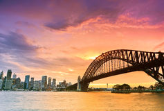 Sydney Harbour at dusk. Sydney Harbour Panorama viewed from Kirribilli in North Sydney at dusk Stock Photo