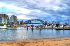 Sydney Harbour from Lavender Bay. A view of Sydney Harbour from Lavender Bay during a late summer afternoon in mid January. Jetty featured in the right with royalty free stock photo