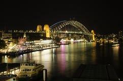 Sydney Harbour Lights Royalty-vrije Stock Foto's