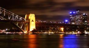 Sydney Harbour lights, Australia. Sydney Harbour skyline panorama at night, Australia Royalty Free Stock Image