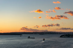 Sydney harbour with moving ferry on sunrise Royalty Free Stock Photography