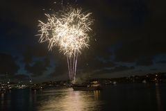 Sydney Harbour New Year Eve Fireworks. Sparkling New Year Eve nye Fireworks in Sydney Harbour At Night, NSW, Australia, Oceania. Colourful surface. blue green Royalty Free Stock Photos