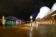 Sydney Harbour At Night fisheye Royalty Free Stock Photography