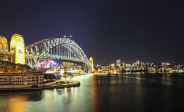 Sydney Harbour night time Panorama with bridge  in North Sydney Royalty Free Stock Photo