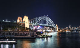 Sydney Harbour night time Panorama with bridge  in North Sydney Stock Image