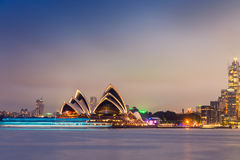 Sydney Harbour night time Panorama viewed from Kirribilli Royalty Free Stock Photos