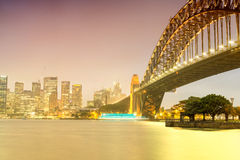 Sydney Harbour night time Panorama viewed from Kirribilli Stock Photos