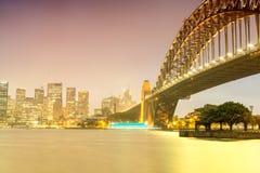 Sydney Harbour night time Panorama viewed from Kirribilli Stock Photos