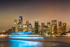 Sydney Harbour night time Panorama viewed from Kirribilli.  Stock Image