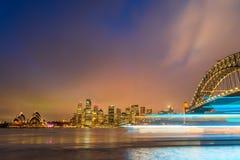 Sydney Harbour night time Panorama viewed from Kirribilli Stock Image
