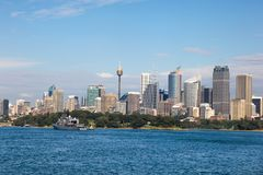 Sydney from Sydney Harbour NSW Australia. View of Sydney CBD from Sydney Harbour New South Wales Australia. Sydney is Australia`s oldest and largest city and is Stock Photo