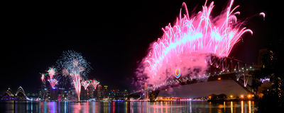 Sydney Harbour NYE Fireworks Panorama Stock Photos