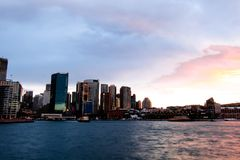 Sydney Habour - Circular quay from the water royalty free stock photo