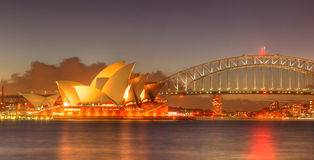 Sydney Harbour with Opera House and Bridge Royalty Free Stock Image