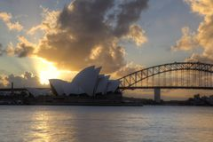 Sydney Harbour with Opera House and Bridge Royalty Free Stock Photography