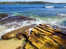 Sydney Harbour Sandstone Rock Formations, Australie images stock