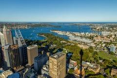 Sydney Harbour sikter från Sydney Tower Royaltyfri Fotografi