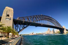 Sydney Harbour Skyline. Blue sky, clear day, city is in the background Royalty Free Stock Image