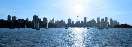 Sydney Harbour Skyline Australia Stockfotos
