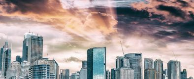 Sydney Harbour skyline at dusk, Australia.  Stock Photography