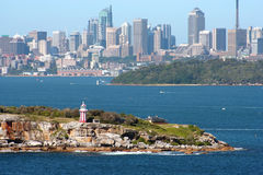 Sydney Harbour Skyline & Lighthouse Royalty Free Stock Photos