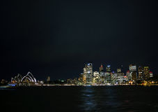 Sydney harbour skyline view by night in australia Royalty Free Stock Photos