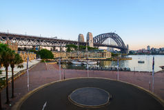 Sydney Harbour before sunrise at oversea terminal Stock Photos