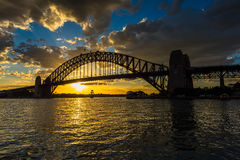 Sydney Harbour  at sunset. Sydney Harbour at sunset viewed from Milsons Point in North Sydney Australia. DEC 19,2016 Sydney Harbour is a beautiful meandering Royalty Free Stock Photography
