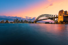 Sydney Harbour Sydney Australia at sunset. Long exposure Sydney Harbour Sydney Australia at sunset.Sydney Harbour is beautiful meandering waterway,famous around Royalty Free Stock Image