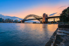 Sydney Harbour and Sydney Harbour Bridge at sunset. Lonng exposure Sydney Harbour and Sydney Harbour Bridge NSW Australia at sunset Stock Photos