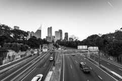 Sydney highway with skyline in the distance stock photo