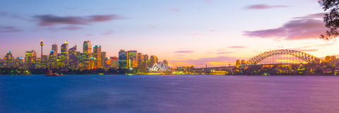 Sydney horisont på natten, New South Wales, Australien Fotografering för Bildbyråer
