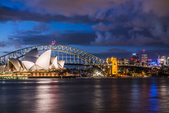 Sydney Landmarks Lit Up Royalty Free Stock Photo