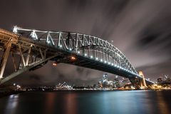 Sydney Landscape with Harbour Bridge and Opera House at night. Long exposure and blowing clouds and sky Stock Photography