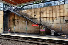 Sydney Light Rail Train Station, Fish Markets. The Fish Markets light rail train station, set in a deep sandstone rock cutting, in Pyrmont, Sydney, NSW Royalty Free Stock Photography