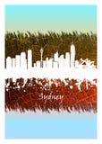 Sydney linia horyzontu biel i błękit ilustracji