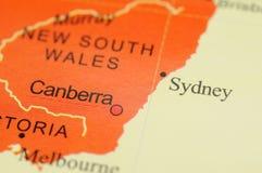 Sydney on map Stock Photography
