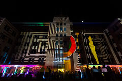 Sydney Museum of Contemporary Arts during Vivid festival 2014. Light projection onto the Sydney Museum of contemporary Arts Australia.  Vivid Sydney is an Stock Photography