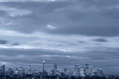 Sydney - NachtSkyline lizenzfreie stockfotos