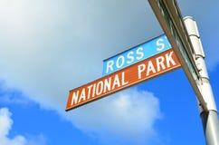 Sydney National Park. Signboard against blue sky Stock Photos