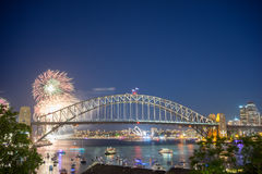 Sydney New Year Eve Fireworks Show. Sydney 2016 New Year Eve Fireworks Show at the Harbour Bridge royalty free stock photo