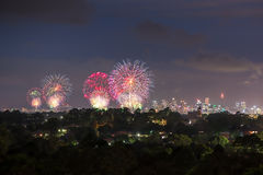Sydney New Year Firework 2017 Stock Foto's