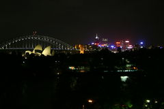 Sydney by night. Sydney Harbour Bridge and the lights of North Sydney Stock Photography