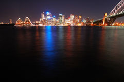 Sydney at night. Night sydney scene, reflection in water, more space left in the bottom for  eventual text message or something Royalty Free Stock Photography
