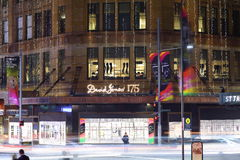 Store David Jones building Sydney at night Stock Photography