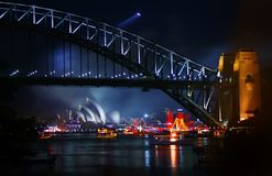 Sydney at night. The Sydney Harbour Bridge at night with the Sydney Opera House in the background Royalty Free Stock Images