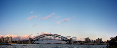 Sydney - Night Skyline Panorama. Sydney Harbour Bridge just after sunset. Horizontal panorama with space for text at the top stock photo
